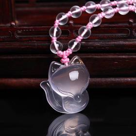 【预售包邮】开光天然粉水晶项链 狐狸吊坠 女款时尚项坠(配链)