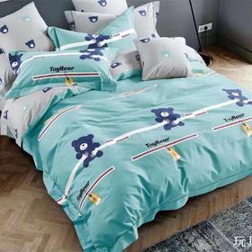 40匹马棉床盖四件套-玩具熊(蓝)