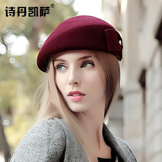 【贝雷帽】秋冬季女画家帽子保暖羊毛呢礼帽子女士欧美贝雷帽空姐礼帽 商品图1