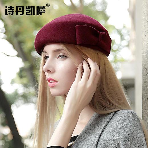 【贝雷帽】秋冬季女画家帽子保暖羊毛呢礼帽子女士欧美贝雷帽空姐礼帽 商品图2