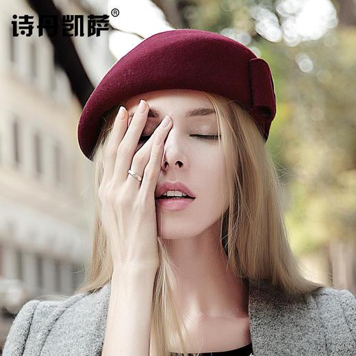 【贝雷帽】秋冬季女画家帽子保暖羊毛呢礼帽子女士欧美贝雷帽空姐礼帽 商品图0