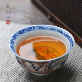现货 手绘青花釉里红松竹梅纹小茶碗茶杯 景德镇手工陶瓷茶具