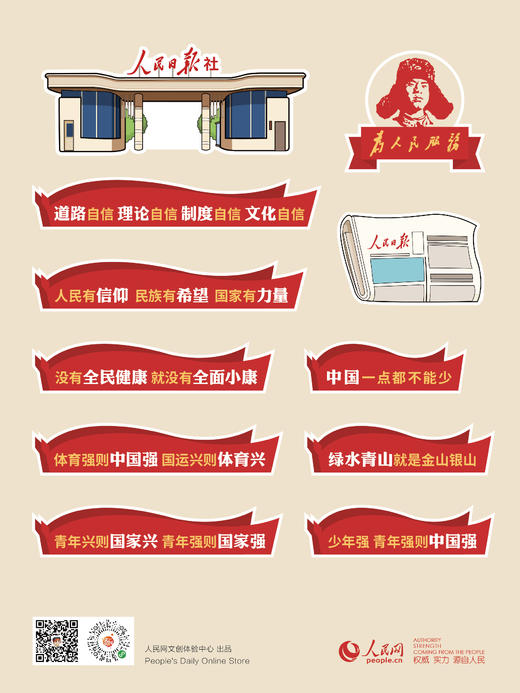 人民正能量系列贴纸 人民网独家 新媒体大楼/人民日报社/金句 商品图2