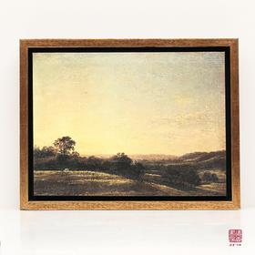 包邮  平凡景色中的不凡意境:康斯坦布尔《蒂杨·达维兹·德·黑姆山谷的黄昏》家居、办公木框精美装饰画