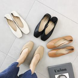 春夏平底单鞋女软皮简约浅口方头奶奶鞋休闲复古一脚蹬懒人鞋