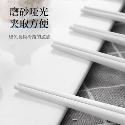 日式尖头家用网红餐具合金筷子10双装家庭防滑防霉耐高温 商品图3