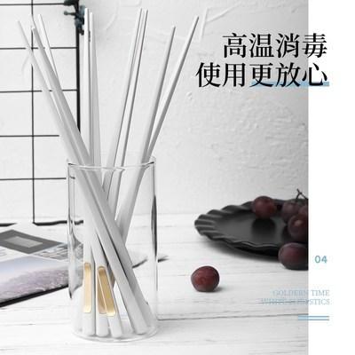 日式尖头家用网红餐具合金筷子10双装家庭防滑防霉耐高温 商品图5