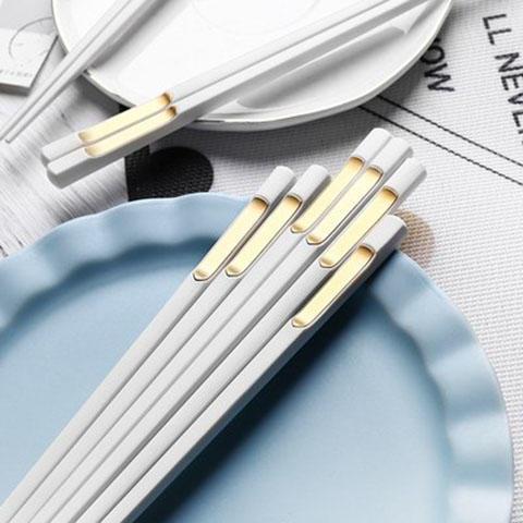 日式尖头家用网红餐具合金筷子10双装家庭防滑防霉耐高温 商品图1
