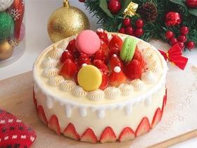 草莓派对·简约主义草莓马卡龙生日蛋糕