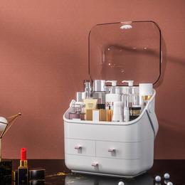告别凌乱 大容量防尘化妆品收纳盒 三层可翻盖桌面便携梳妆台口红整理盒