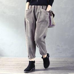 PDD-CYNZ191121新款秋冬文艺纯色灯芯绒高腰哈伦裤TZF