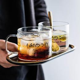 摩登主妇水杯简约家用清新创意森系杯子奶茶饮料杯耐热玻璃杯带把