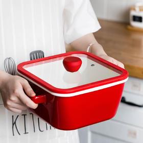 摩登主妇汤锅家用燃气带盖加厚搪瓷锅炖煮汤煲厨房珐琅火锅煮面锅