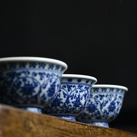 蓝和白 手绘永乐青花压手杯品茗杯
