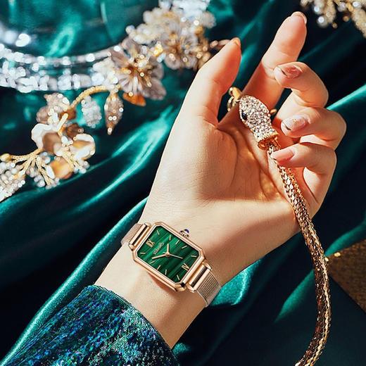 【限时赠手镯1枚】「年度星品 小绿表」SUNKTA森系细带孔雀石幸运小绿表日本进口机芯女士ins风轻奢复古小方盘手表 商品图11