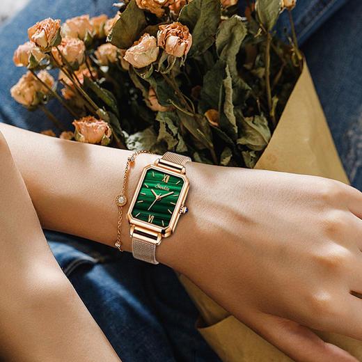 【限时赠手镯1枚】「年度星品 小绿表」SUNKTA森系细带孔雀石幸运小绿表日本进口机芯女士ins风轻奢复古小方盘手表 商品图10