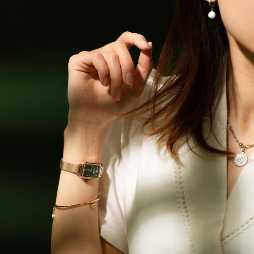 【限时赠手镯1枚】「年度星品 小绿表」SUNKTA森系细带孔雀石幸运小绿表日本进口机芯女士ins风轻奢复古小方盘手表 商品图8