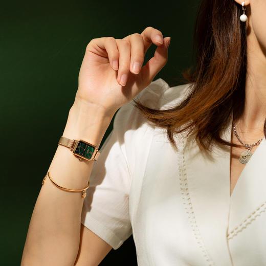 【限时赠手镯1枚】「年度星品 小绿表」SUNKTA森系细带孔雀石幸运小绿表日本进口机芯女士ins风轻奢复古小方盘手表 商品图4
