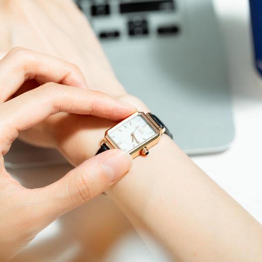 【限时赠手镯1枚】「年度星品 小绿表」SUNKTA森系细带孔雀石幸运小绿表日本进口机芯女士ins风轻奢复古小方盘手表 商品图5