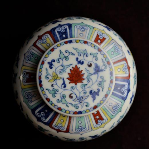 蓝和白 仿明成化手绘斗彩穿花凤纹天字罐储茶罐 商品图2