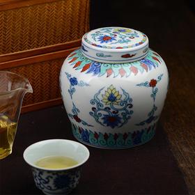 蓝和白 仿明成化手绘斗彩穿花凤纹天字罐储茶罐