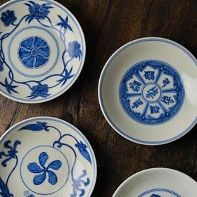蓝和白 手绘青花瓷餐碟 手工陶瓷茶点碟