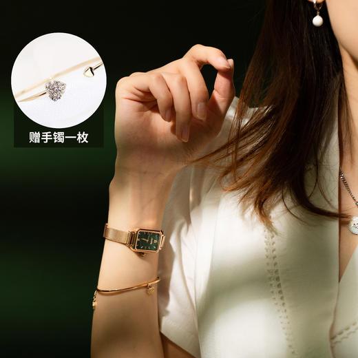 【限时赠手镯1枚】「年度星品 小绿表」SUNKTA森系细带孔雀石幸运小绿表日本进口机芯女士ins风轻奢复古小方盘手表 商品图0