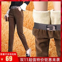 QXDZ新款时尚气质宽松加绒加厚灯芯绒哈伦裤TZF