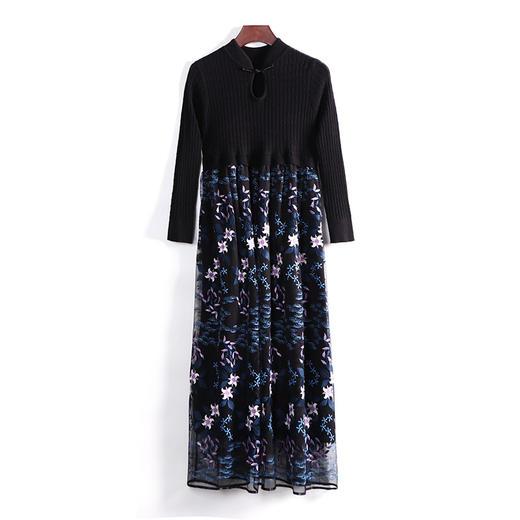 LYFZ-LY248新款时尚气质宽松立领长袖重工绣花拼接针织连衣裙TZF 商品图4