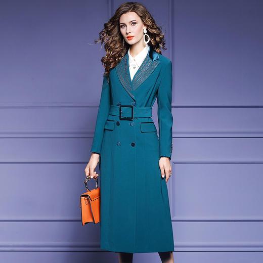 FMY34106新款时尚气质收腰双排扣中长款西装大衣外套TZF 商品图0