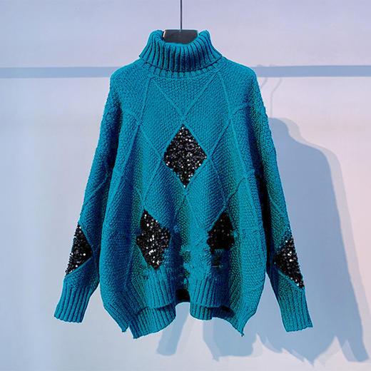 YNYMS-G-YN6689新款时尚气质宽松百搭高领长袖加厚针织毛衣TZF 商品图4