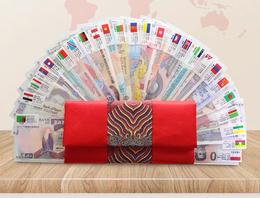【压岁钱界的劳斯莱斯】2021金牛贺岁红包   外币收藏红包 28国52张纸币+中国风刺绣红包