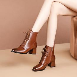 OLD5786012新款英伦风时尚气质真皮百搭加绒粗跟马丁靴TZF
