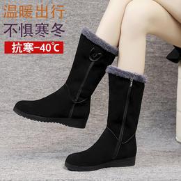 PDD-YSCNX201229新款时尚气质加绒加厚保暖侧拉链平底防滑中筒棉靴TZF