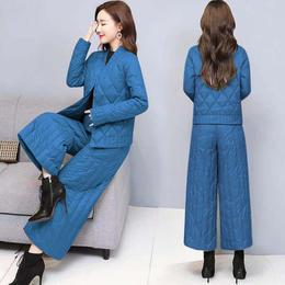 PDD-XQJN210113新款韩版时尚气质加厚棉衣阔腿裤两件套TZF