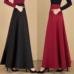 PDD-KMN210115新款时尚气质百搭高腰加厚大摆半身裙TZF