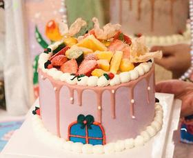 复古少女西里家园水果生日蛋糕