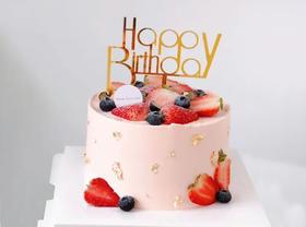 【鲜果】金星点缀草莓蓝莓鲜果生日蛋糕