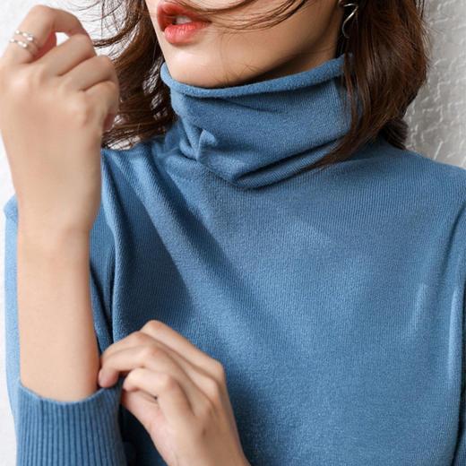 【爆款!买1送1】堆堆领百搭针织衫 高领毛衣打底衫 高弹修身保暖透气 2021年春季新款 热卖 商品图3